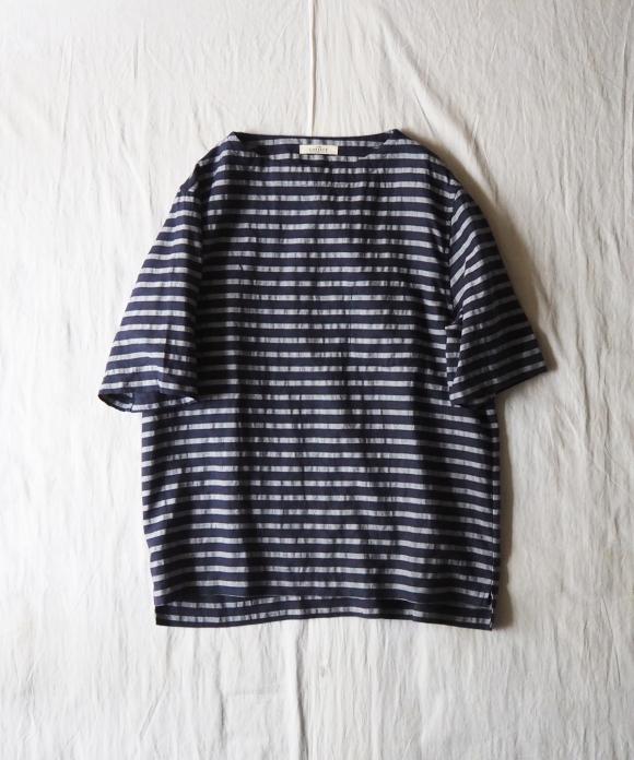 リネンボーダー半袖バスクシャツ