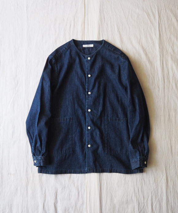 Light Denim No-Collar Cover Shirt