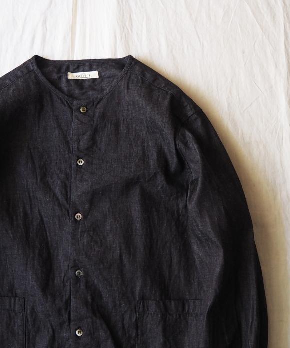 ライトデニムノーカラーカバーシャツ