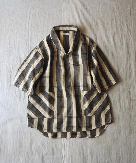 ワイドチェックプルオーバーシャツ