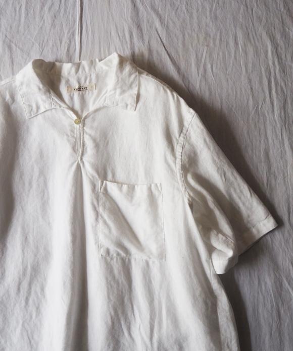 リネンスキッパーネック半袖シャツ