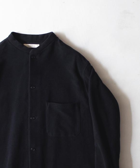 スーピマコットンツイルバンドカラーシャツ