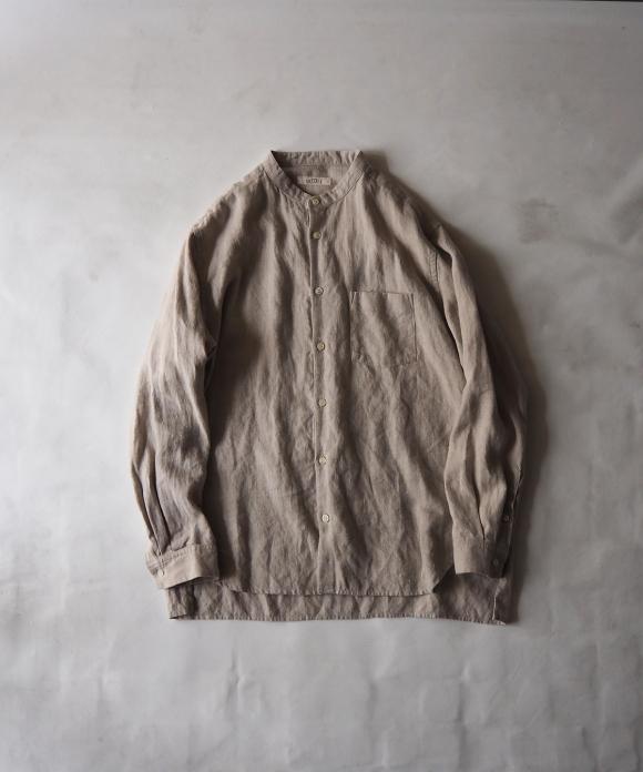 起毛リネンバンドカラーシャツ