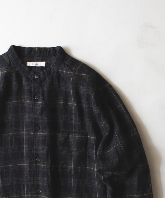 起毛リネンチェックバンドカラーシャツ