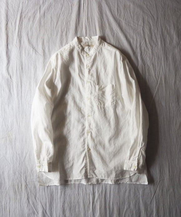 High Count Linen Band Collar Shirt