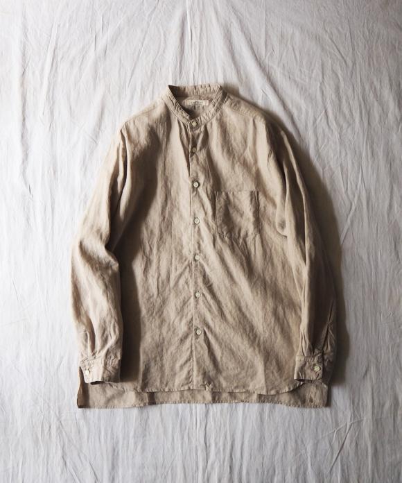High Count Linen Band Collar Shirt