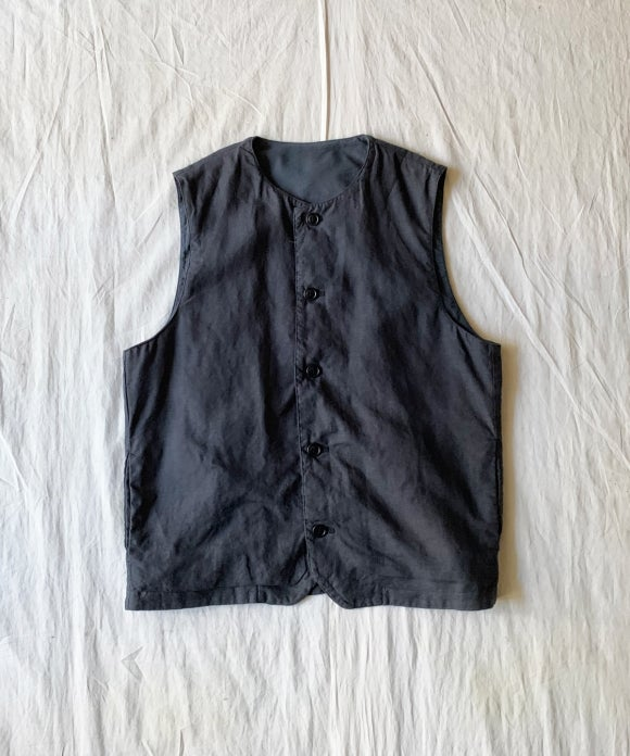 Over Dyed Linen Crew Neck Vest