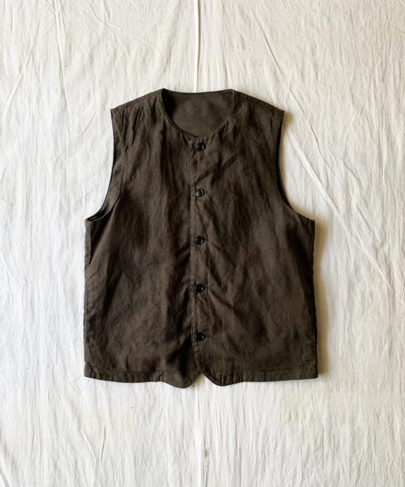 Over Dyed Linen Crew Neck Vest