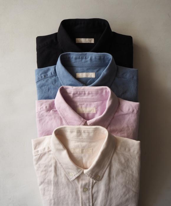 コットン和紙ワイドボタンダウンシャツ