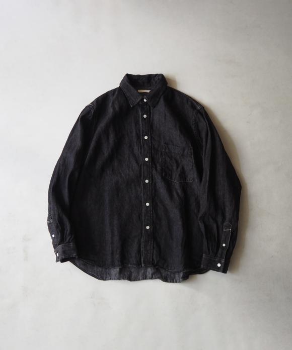 10ozリネンデニムレギュラーカラーシャツ