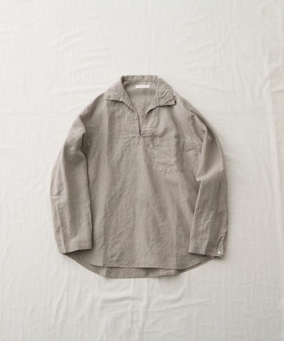 ブラックヘンプスキッパーネックシャツ