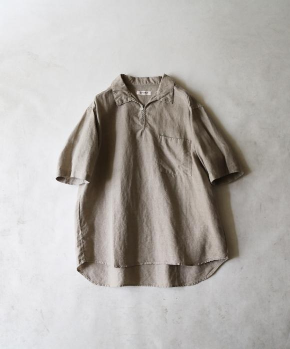 【抗菌】ブラックヘンプ半袖スキッパーシャツ
