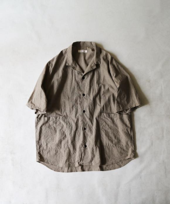 先染めコットンリネン半袖カバーシャツ