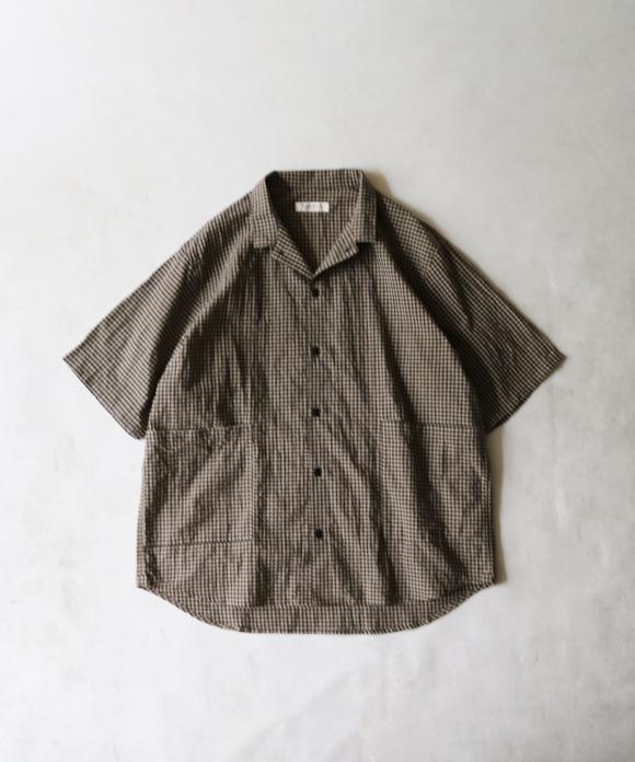 先染めコットンリネンギンガムチェック半袖カバーシャツ