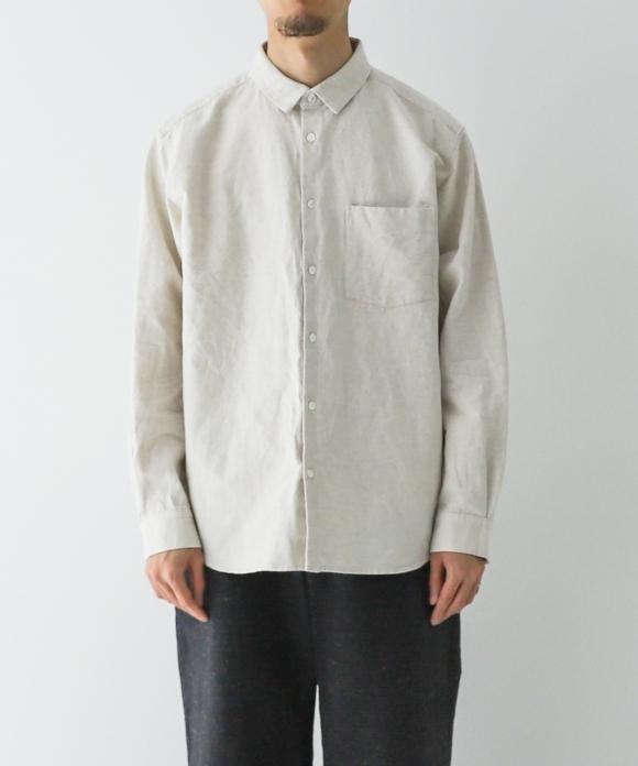コットンリネン オックスフォード レギュラーカラーシャツ