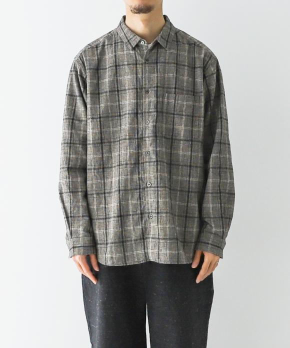 起毛グレンチェック レギュラーカラーシャツ