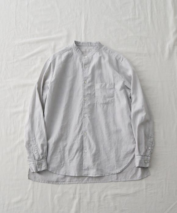 <天然染め>ハイカウントリネンバンドカラーシャツ