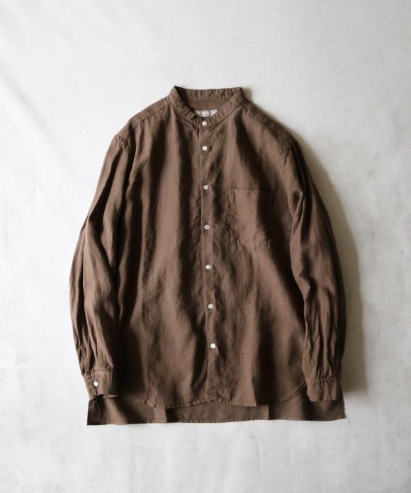 オーバーダイリネンバンドカラーシャツ