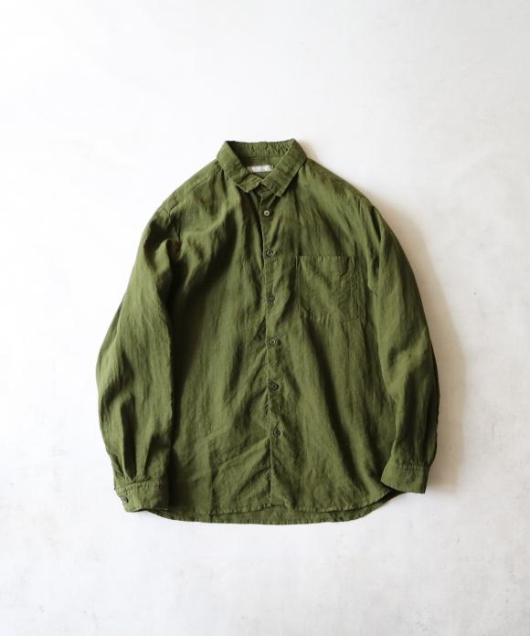 【SWEDISH ARMY GREEN】ハイカウントリネンレギュラーカラーシャツ