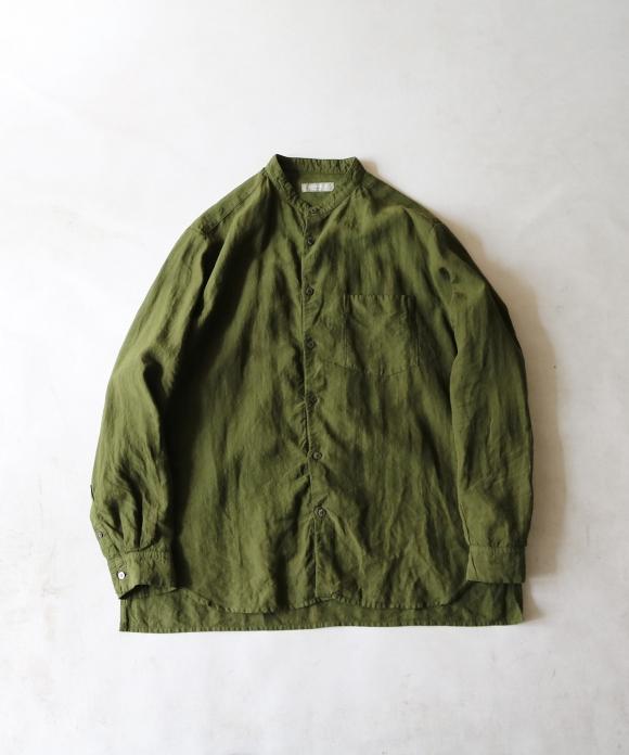 【SWEDISH ARMY GREEN】ハイカウントリネンバンドカラーシャツ