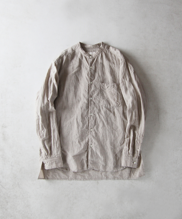ハイカウントリネン バンドカラーシャツ