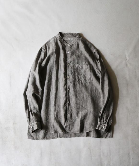 ピグメントダイリネンバンドカラーシャツ