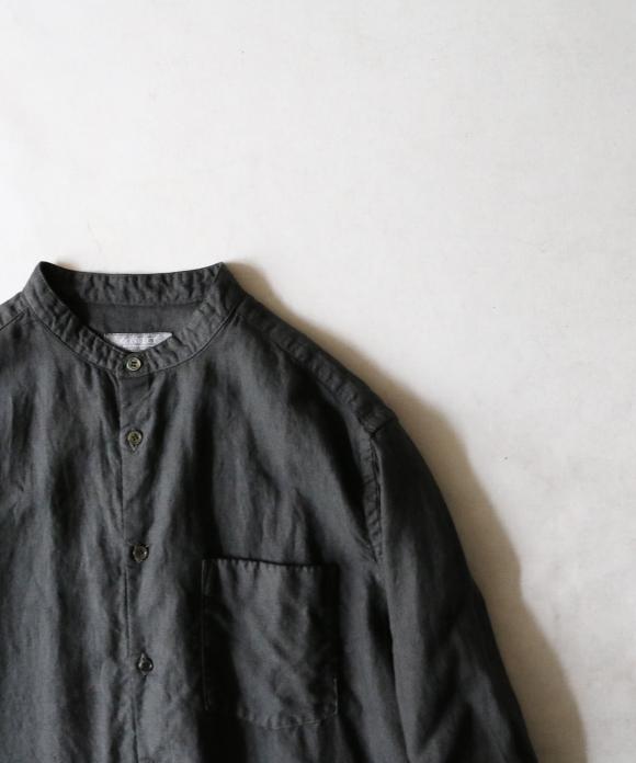サルファーダイリネンバンドカラーシャツ