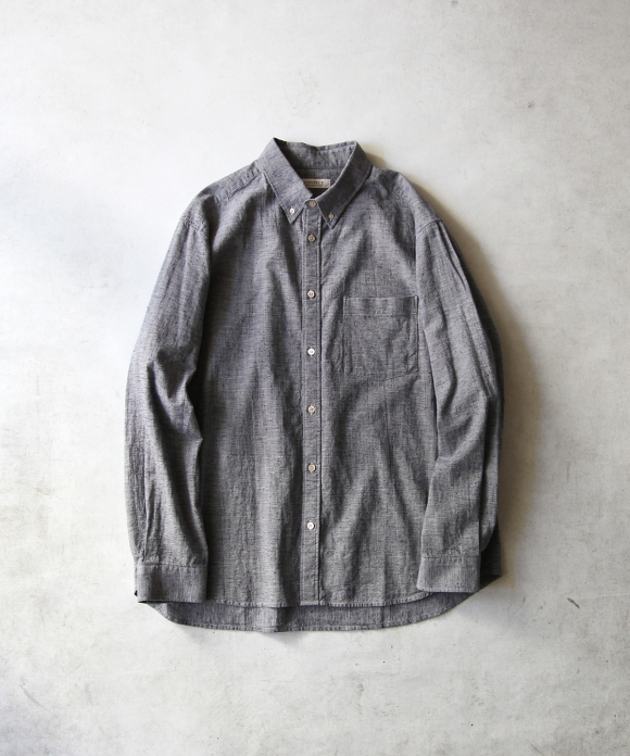 コットンリネン ネップシャンブレーBDシャツ