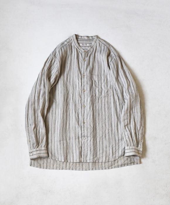 リネン杢ストライプバンドカラーシャツ