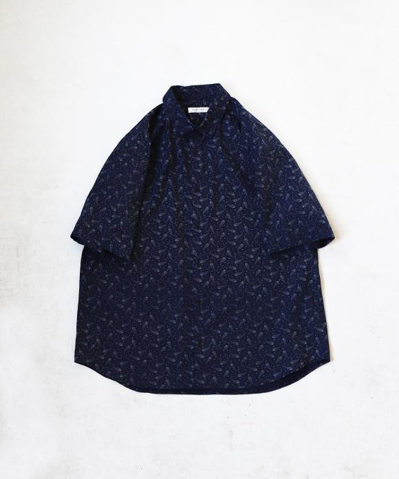 インディゴ ペイズリー ワイド半袖シャツ