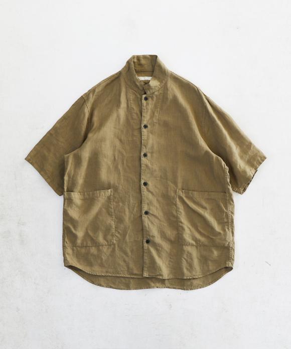 リネン 半袖 カバーシャツ