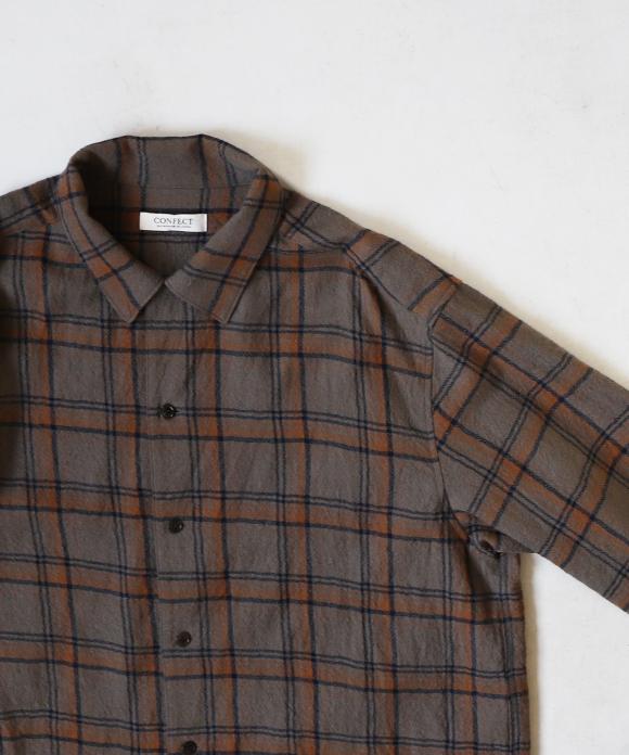 ウールチェック キャンプカラーシャツ