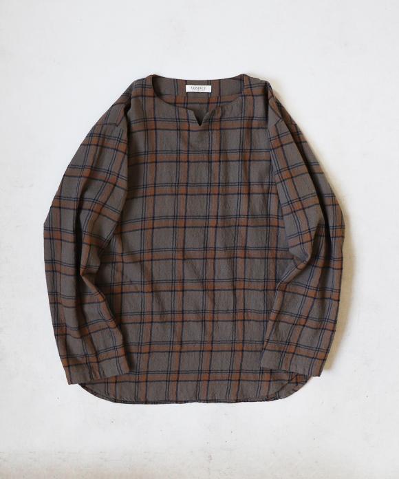 ウールチェック キーネック スモックシャツ