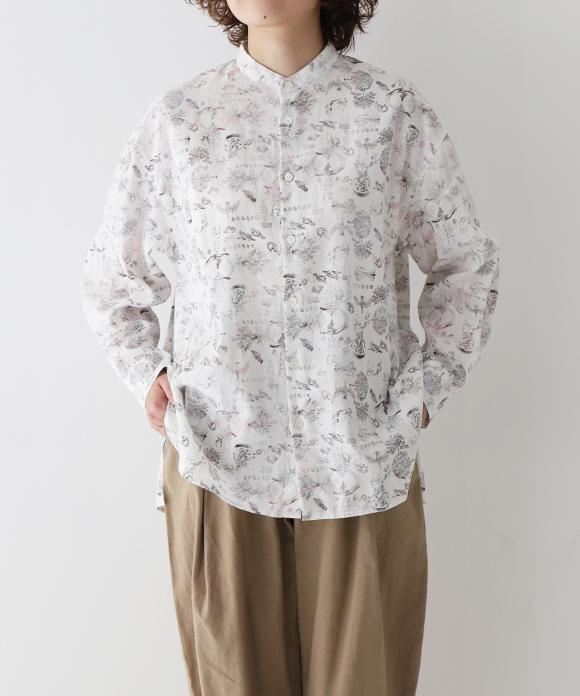 【UpcycleLino】× MANDALĀJU ビッグバンドカラーシャツ ハンガー付き